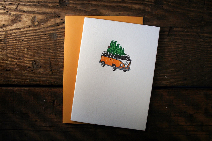 VW Bus Holiday Card (Single Card)