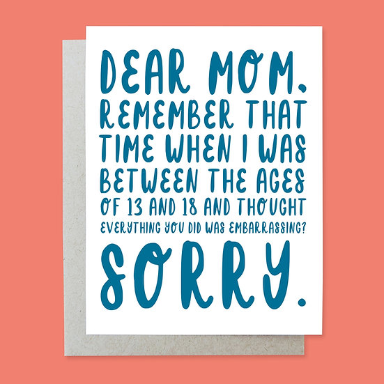 Embarrassed Mother's Day Card