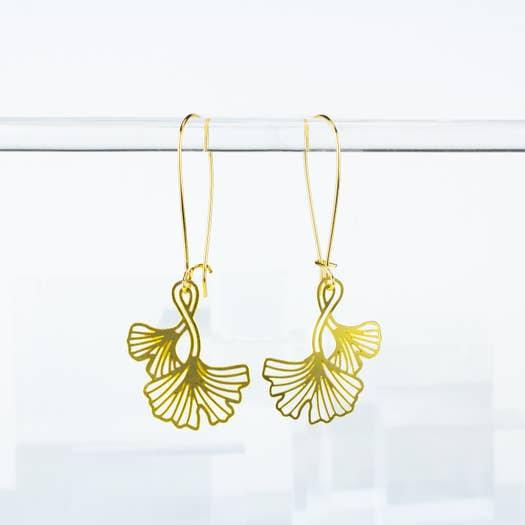 Ginkgo Leaf Earrings - A Tea Leaf Jewelry