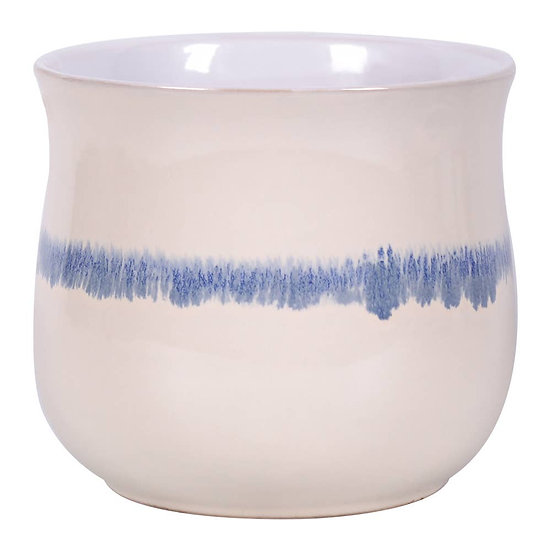 "5.25"" Reactive Blue Stripe Flower Pot"