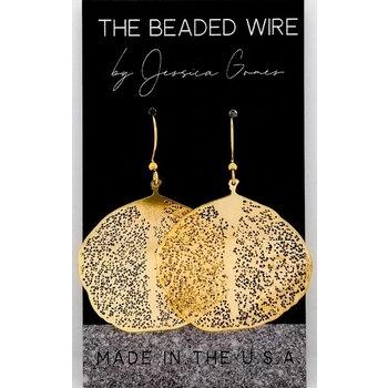 Filigree Ginkgo Drop Earrings - Gold