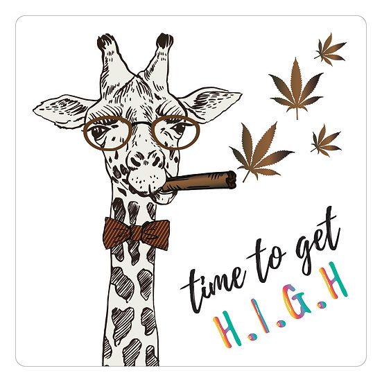 """Time to Get High Sticker 2""""x2""""  Clear Vinyl"""