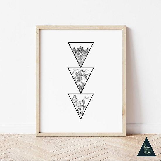 Nature Biomes Triangle Art Print
