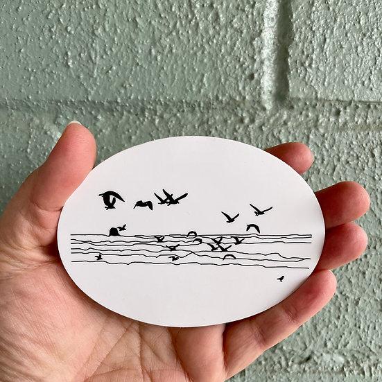 Seagull Oval Sticker