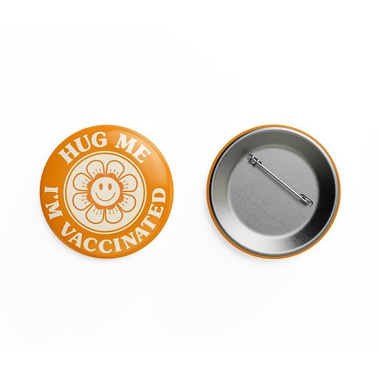 Hug Me - I'm Vaccinated Retro Pin