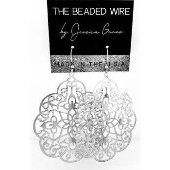 Ornate Filigree Drop Earrings - Silver