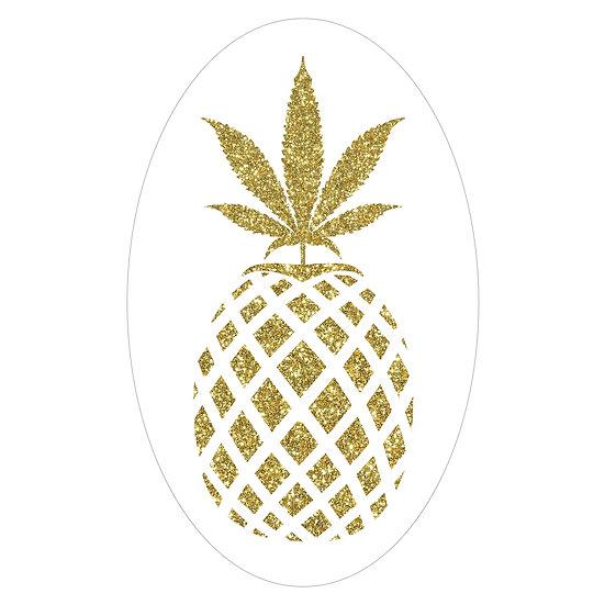 "Pineapple Hybrid Sticker 2""x2""  Clear Vinyl"