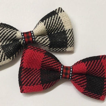 Plaid Dog Bow Tie (Red or White)