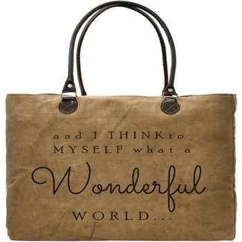 Wonderful World Recycled Military Tent Market Tote