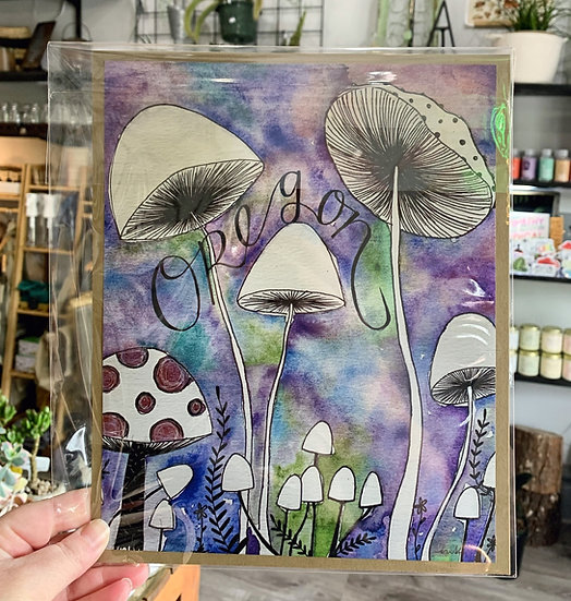Oregon Mushrooms Print