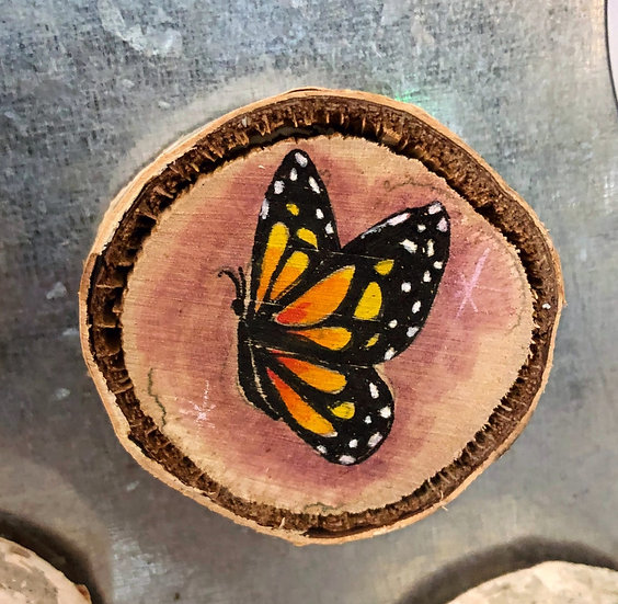 Monarch Butterfly Wood Magnet