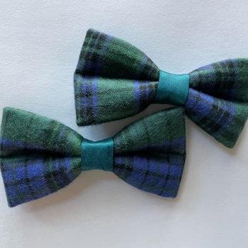 Mini Size Plaid Dog Bow Tie (Dk Green & Blue)