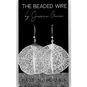 Filigree Ginkgo Drop Earrings - Silver
