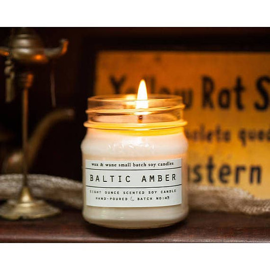 Baltic Amber Mason Jar Soy Candle 8 oz.