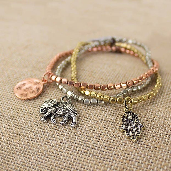 Zen Charm Metalic Beads Bracelet Set
