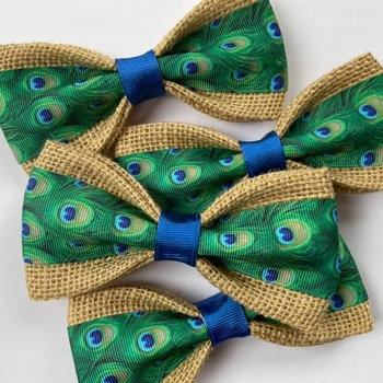 Peacock Feathers Dog Bow Tie
