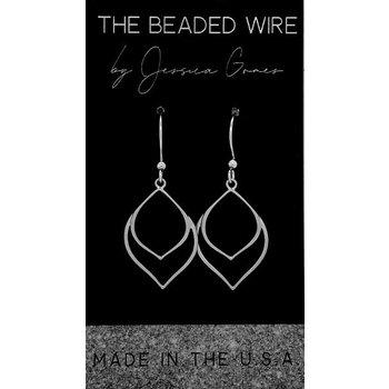 2 Tier Open Leaf Earrings - Silver