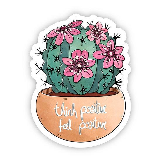 Think Positive Cactus Sticker