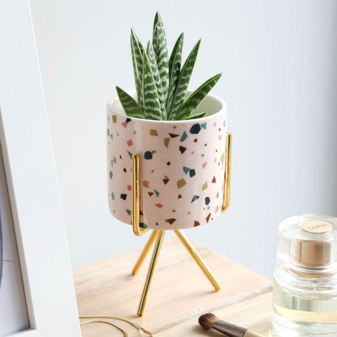 Terrazzo Print Mini Planter and Stand