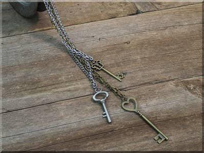 Salvage Triple Skeleton Key Necklace Set