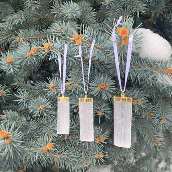 Selenite Crystal Ornaments Gold