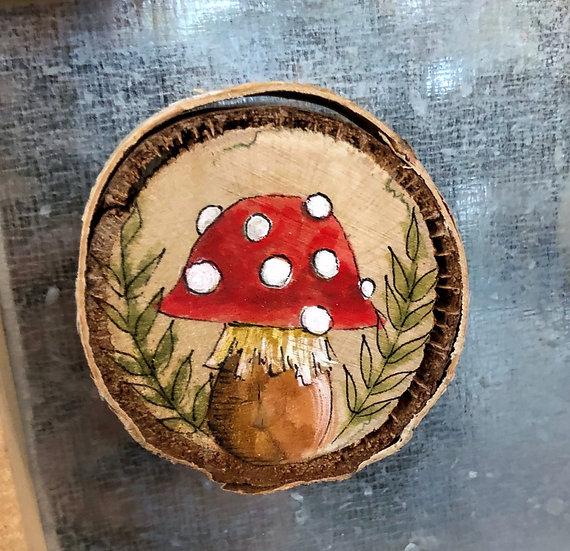 Mushroom Wood Magnet