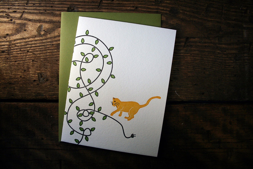Cat and Lights Holiday Card (Single Card)