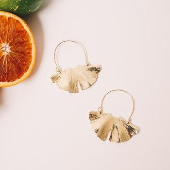 Ginkgo Hoop Earrings