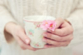 Two hands holding chamomile spring tea i