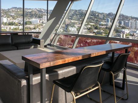 Matching Walnut Contemporary Modern Bar Top Tables