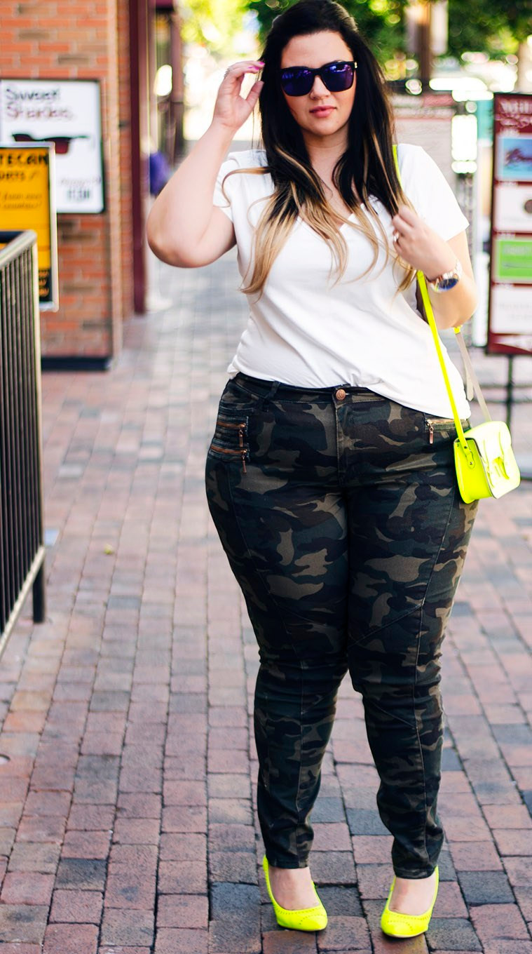 camo pants neon accessories plus size jeans city chic ootd crystal coons how to wear camo pants