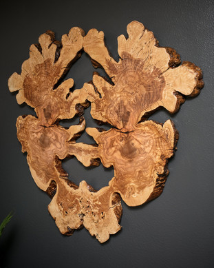 """Bookmatched 40"""" Olive Wood Burl Heart/Face"""