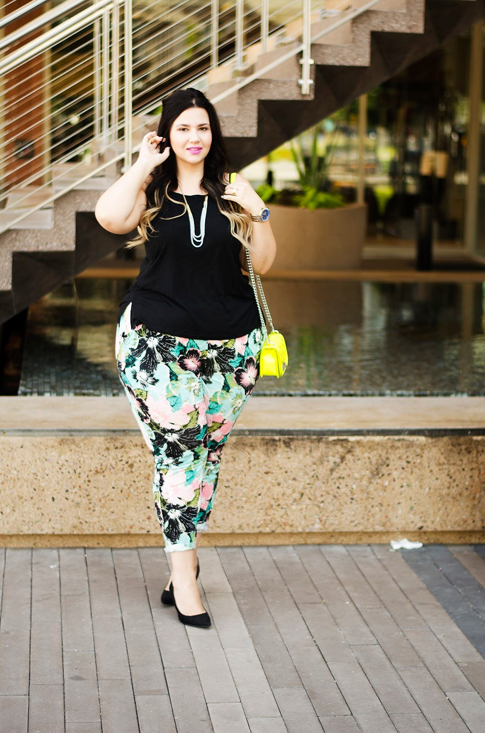 plus size printed trousers palm trees summer lounge outfit ootd crystal coons