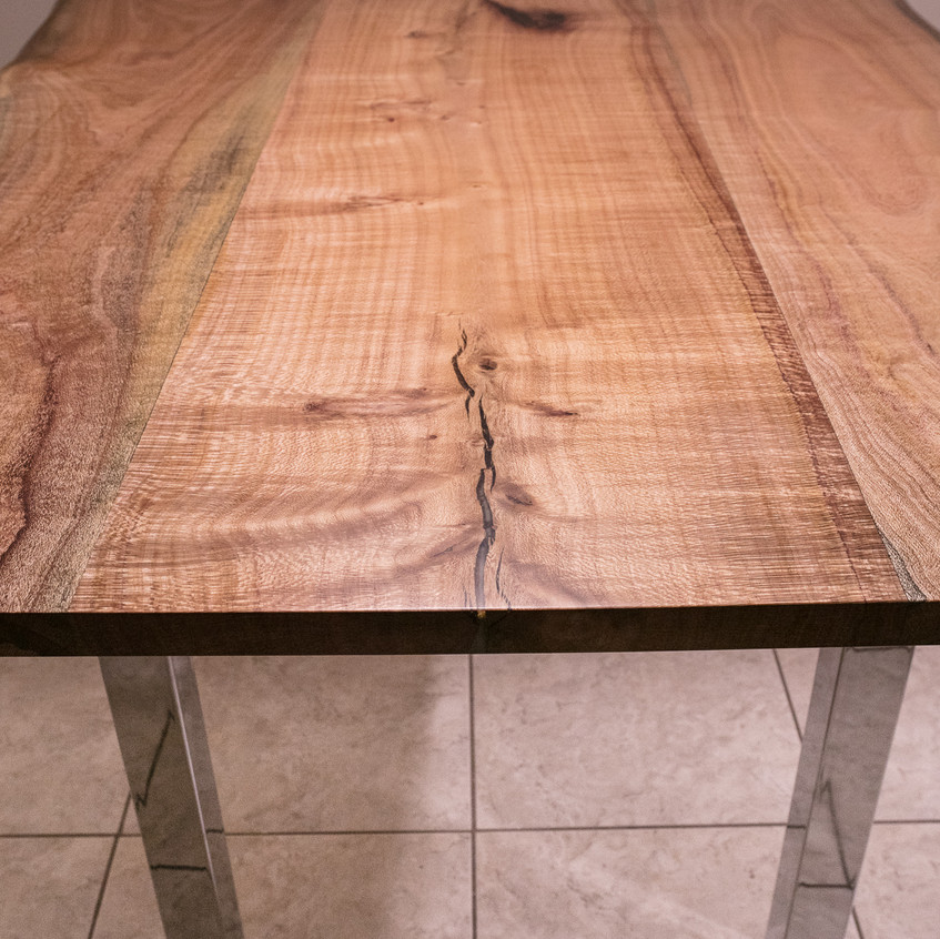 4x6ft Silky Oak 3-slab Live Edge rustic modern dining table with chrome square pillar legs.