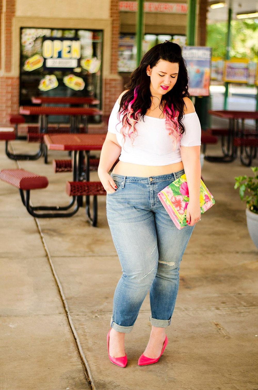 plus size ripped jeans ootd taret ava and viv rebdolls casual outfit neon