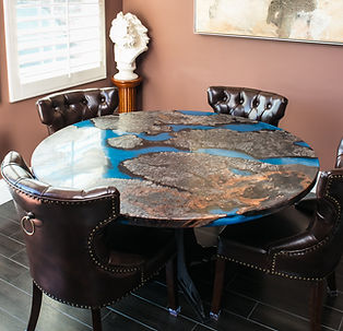 "58"" Round Burl Live edge & blue epoxy resin Earth Art Dining Table"