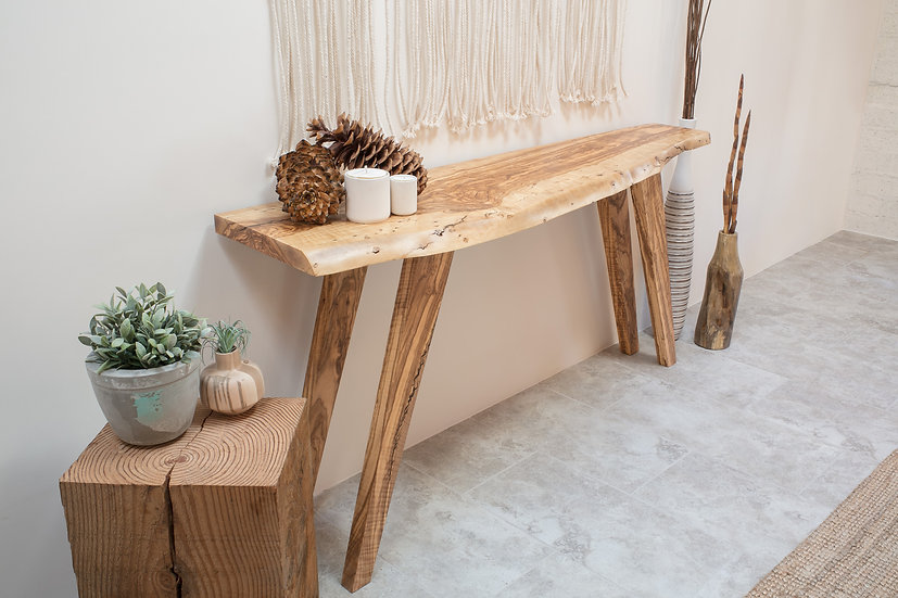 Mid Mod Olive Wood Console Table