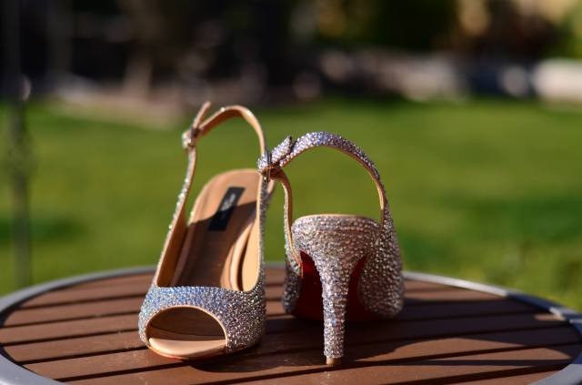 DIY Strass Ann Taylor wedding shoes strass