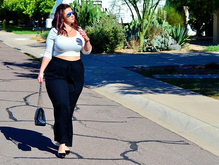 crystal coons cropped top plus size wide leg trousers