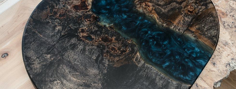 ebonized maple burl live edge dark translucent blue resin river centerpiece
