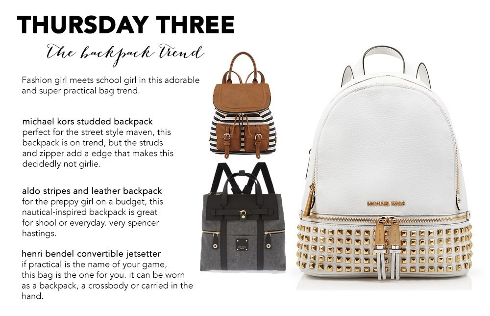 fall 2015 backpacks henri bendel michael kors aldo