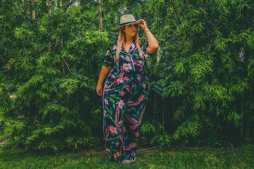 eloquii, tropical, plus size ootd, plus size travel ootd, plus size tropical ootd, plus size matching set