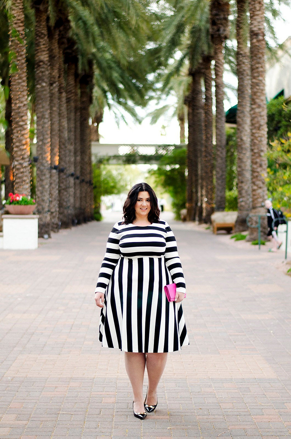 plus size striped dress ootd eloquii crystal coons sometimes glam phoenix az blogger