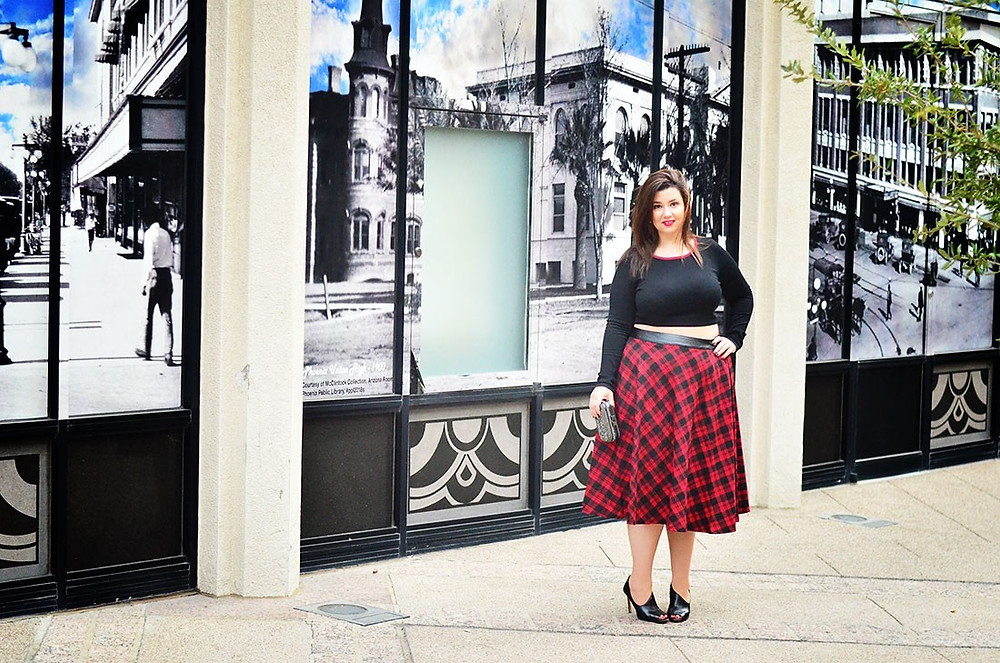OOTD: plus size crystal coons fall 2014 fashion what to wear with plaid