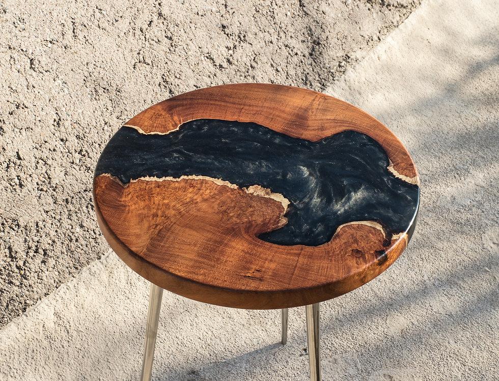 "Mesquite Live Edge Burl ""Space"" Black River 18"" Round Modern End Table"