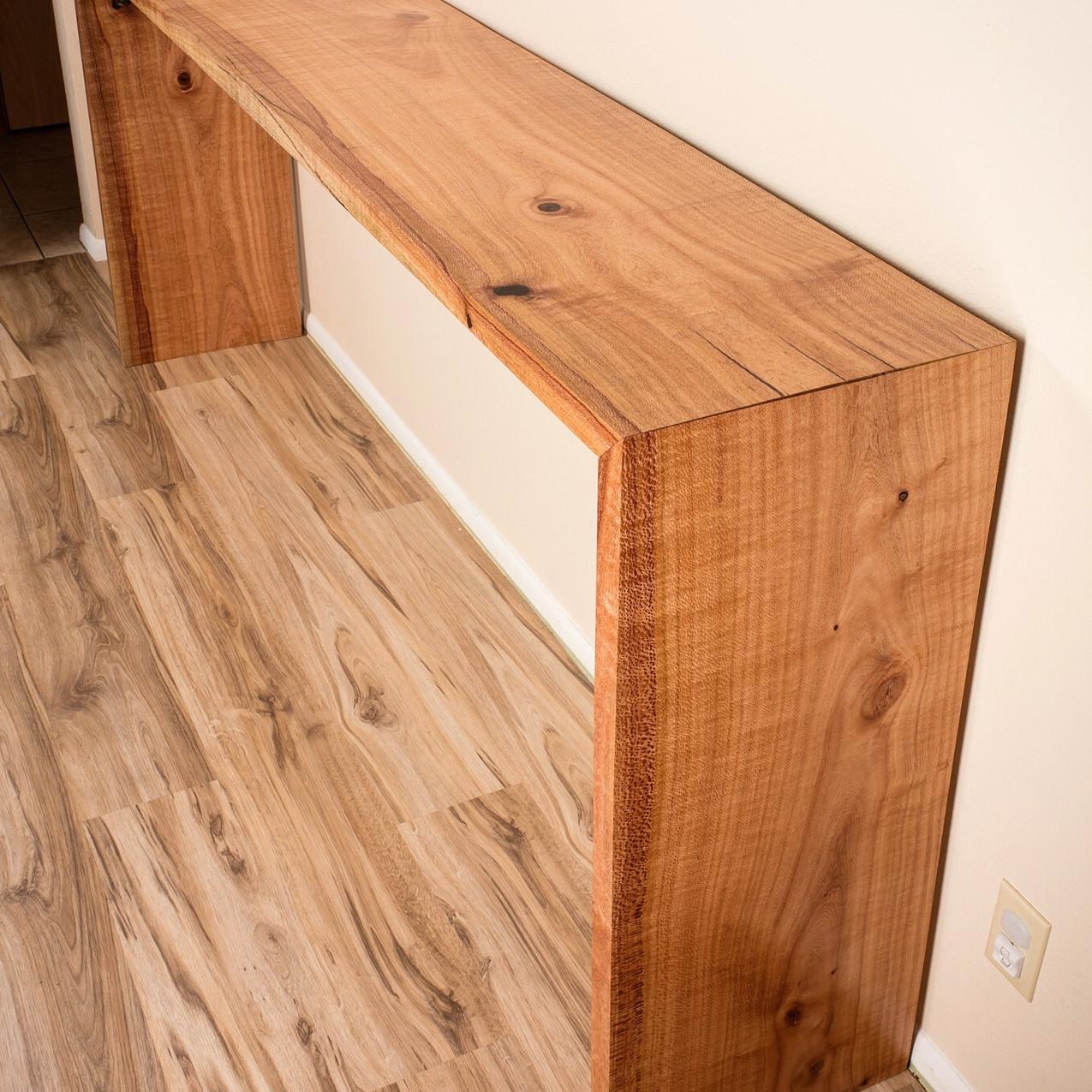 "16""x9ft Silky Oak Double Waterfall Console Table"