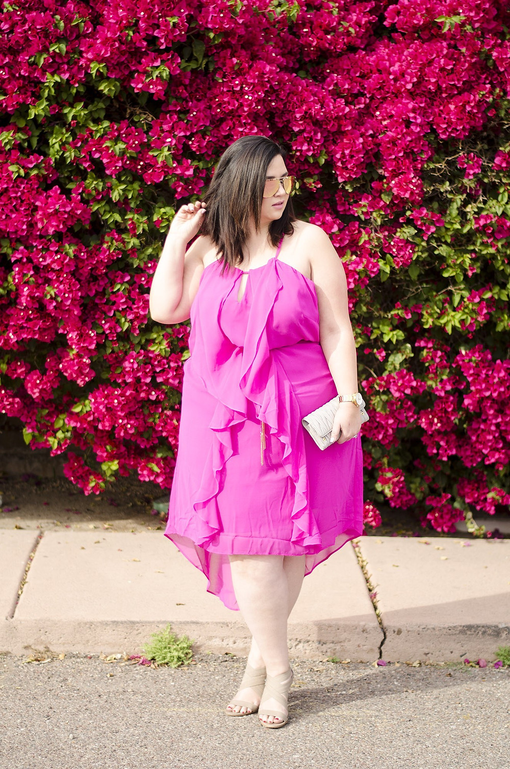 plus size pink ruffle dress summer dress neon pink gold crystal coons sometimes glam
