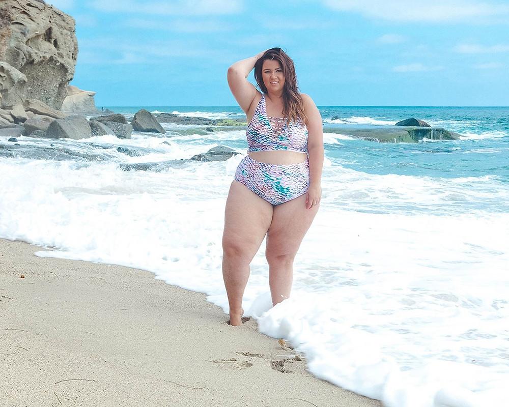 plus size swim week, plus size swimsuit, plus size bikini, plus size model, plus size beach photo, crystal coons, sometimes glam