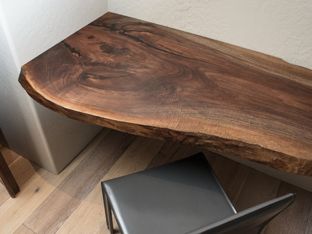 Walnut Live Edge Float Desk + Ebonized Maple Console