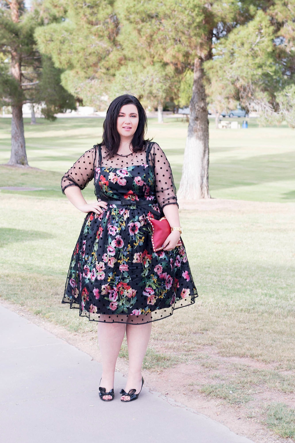 Plus Size Floral Dress City Chic Sometimes Glam Crystal Coons what to wear for thanksgiving